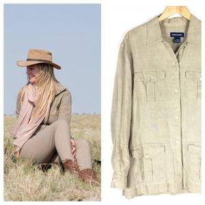 Safari Style Linen Shirt Jacket Size Medium